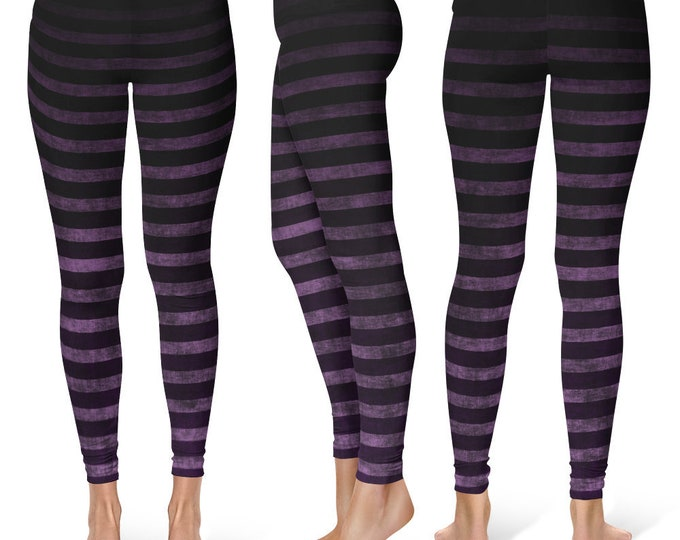 Witch Leggings Yoga Pants, Striped Yoga Tights for Women in Black and Purple Grunge