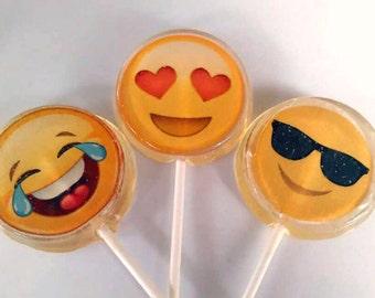 Emoji Wedding Favor Lollipop, Party Favors Set of 6, Birthday Party Favor, Edible Image, Custom Wedding Favors, Sweet Sixteen Party Favor