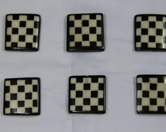 6 pcs Batik Bone Small Square Rectangle Beads