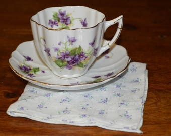 Vintage purple violet cup and saucer with tiny flower hankie handkerchief - Victoria