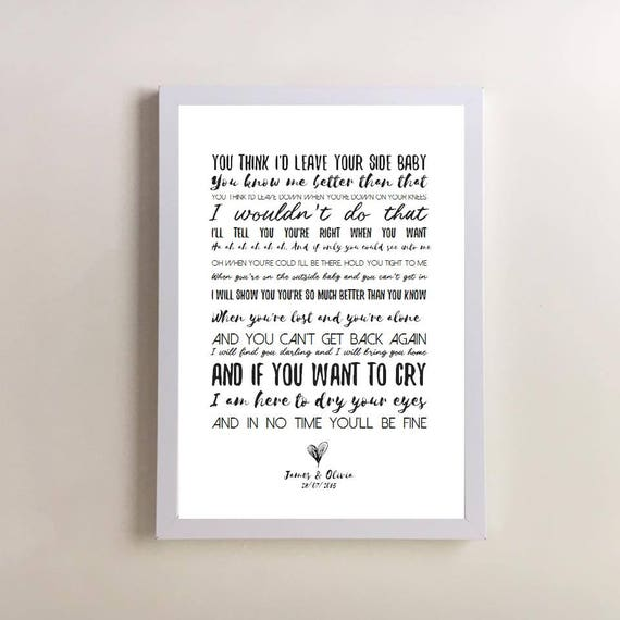 By Your Side Song Lyrics Print Sade Wedding First Dance Anniversary Gifts Gift For Husband Wife Justin Nozuka