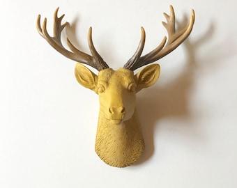 YOSEMITE YELLOW SMALL Deer Head, Faux Taxidermy Stag Head wall mount, Mini Faux Taxidermy, faux animal head wall hanging deer wall art Stag