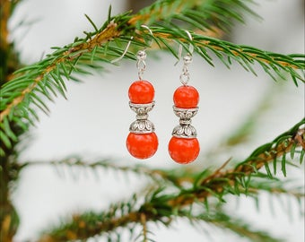 Red Coral Earrings - Red Jewelry - Red Goth Earrings - Gothic Jewelry - Lady In Red - Gift Idea - Gift For Woman - Gift For Goth - Red Lover