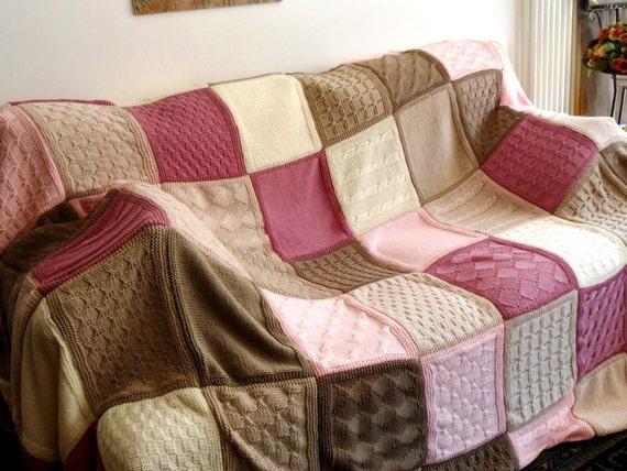 Amato Coperta lavorata a maglia coperta cottage chic prestigiosa QI31