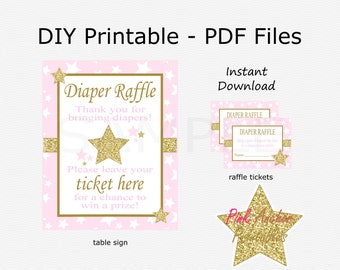 Star Diaper Raffle Tickets and Table Sign - Pale Pink & Gold Glitter - Twinkle Little Star Baby Shower - PRINTABLE - INSTANT DOWNLOAD