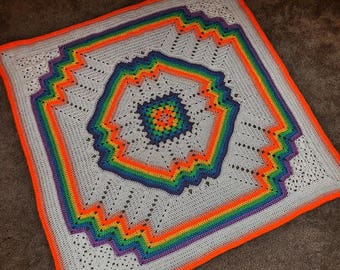 Rainbow Baby Blanket Hand Made Crocheted All New Material