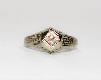 40% OFF SALE with free limited resizing!! Antique Victorian .05ct Diamond 18kt White Gold Engagement Solitaire Ring