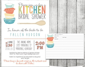 kitchen bridal shower invitation with recipe card stock the