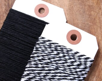 Black Bakers Twine, Black Twine, Cotton Twine, Packaging, Gift Wrap, Halloween Twine, Black String, Cotton String, Bakers String (15 yds)