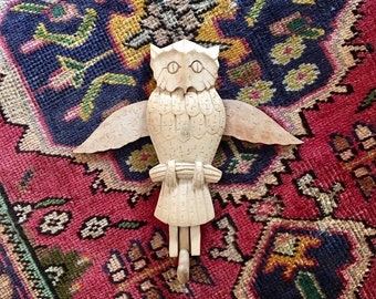 Vintage Hand Carved Wooden Owl Hook Folk Art // India Wood Owl Bird // Boho Art Decor