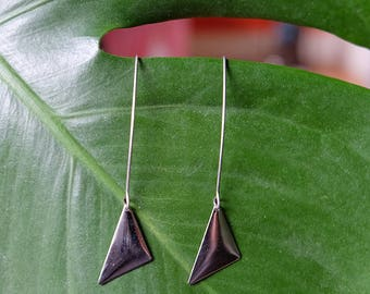 Silver Triangle Marquise Earrings