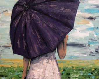Woman with Umbrella in Field painting, Sunny Days Ahead, Original acrylic painting on 11 x 14 canvas, home decor, wall art