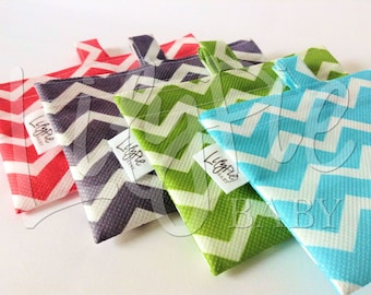 Reusable Sandwich and Snack Bag - Chevron (blue, green, gray, coral) - ECOfriendly & Food Safe - Dishwasher Safe - Back to School