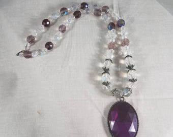 Glass Beads, Pendant, Necklace, handmade, jewelry, women's accessories, accessory,purple,beaded jewelry,prism pendant,tropical,bling,sparkle