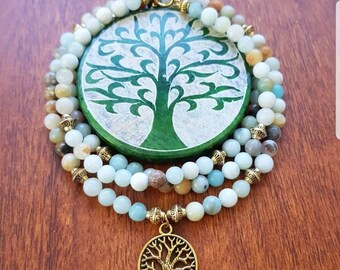 Mala Beads with Amazonite Beads, Tree of Life Pendant in Gold with Gold Beads