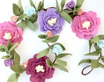 Baby Shower Decor Flower Garland - pink, purple, and mauve - Baby shower decor - wired hemp mauve felt flower garland