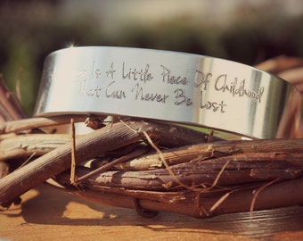 A Sister Is A Little Piece Of Childhood That Can Never Be Lost, Sister Gift, Cuff Bracelet, Best Friend Gift