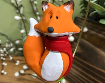 Fox Ornament, Fox Christmas Ornament, Clay Fox Ornament, Christmas Fox, Fox in Scarf, Polymer Clay Fox, Christmas Ornament, Woodland