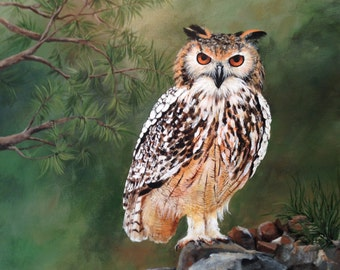 Indian Eagle Owl.Owl painting.Gifts for men.Birds of Prey.Nature art.Gifts for him.Owl art.Western art. Western painting.Nature painting