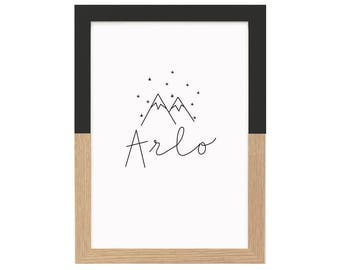 Personalised Name Print Mountains And Stars    Nursery Prints, Kids Room Art, Monochrome Wall Art, Black And White Wall Art, Scandi, Custom