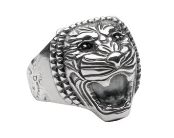 Mens Lion Ring, Mens Statement Ring, Mens Animal Ring, Sterling Silver Ring for Men