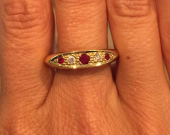 Ruby and Diamond 18k Gold Five Stone Ring
