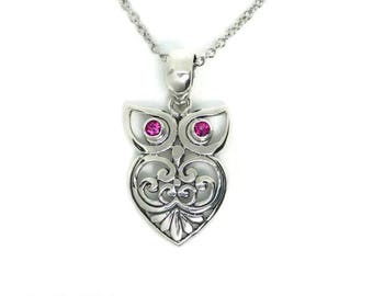 Sterling Silver Pink Tourmaline Filigree Heart Owl Pendant Necklace