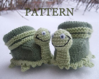 Knitted baby booties 'turtles' (PDF pattern)