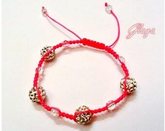 Shamballa bracelet white neon pink thread