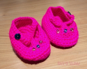 Baby Mary Janes, Hot Pink Baby Shoes, Crochet Baby Shoes