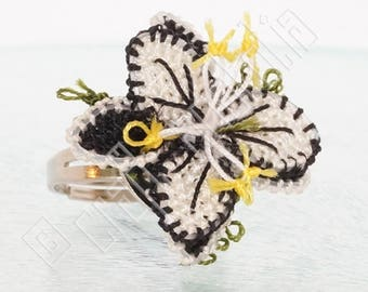 Oya Needle Lace Ring Black and White Lily Flower