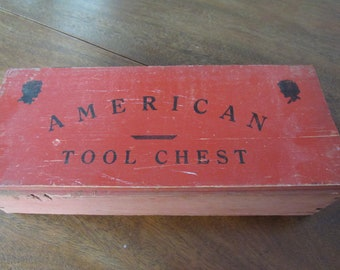 Tool Chest, Wood, Vintage, American, Red