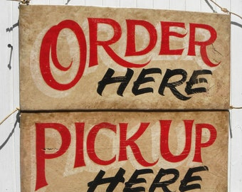 Order Here & Pickup Here Signs, hand painted original faux vintage wooden sign. Directional signs for restaurant, food truck or deli decor