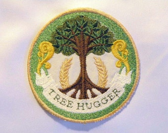 "Tree Hugger Iron on Patch 3.75"""