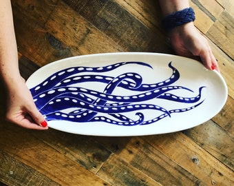 """serving platter, hand painted, octopus, blue and white, oval bread server, 20""""long coastal pottery"""