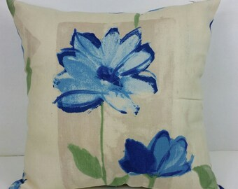 Canvas Blue Flowers Print - Pocket Pillow