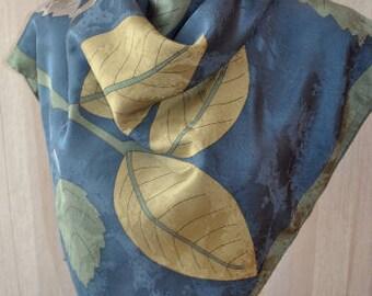 Vintage silk jacquard blue green gray shades  square scarf