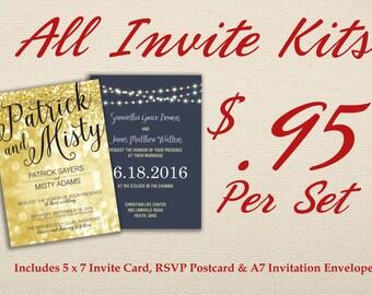 Affordable Wedding Invitation Set Printed with RSVP -  Cheap, Laser, Gold, RSVP, Elegant, Printable, Template, Floral, Art Deco, Modern