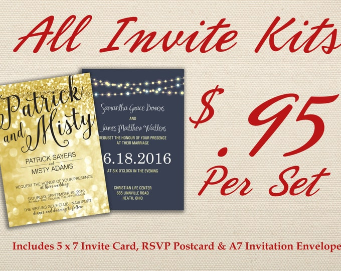 Country Wedding Invitation Kit Printed with RSVP - Affordable, Southern, Rustic, Gold, RSVP, Elegant, Printable, Template, Floral, Art Deco,