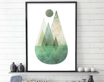 Mountain Print, Mountains, Minimalist Poster, Scandinavian Print, Scandinavian Art, Scandinavian Poster, affiche scandinave, Green, Nordic