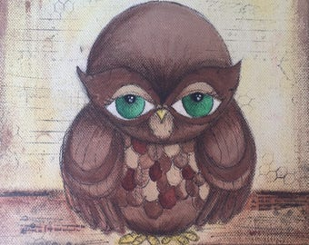 Green eyed owl painting