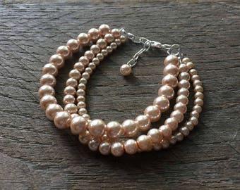 Pink Champange Pearl Bracelet Multi Strand Bridal Bracelet on Silver or Gold Chain