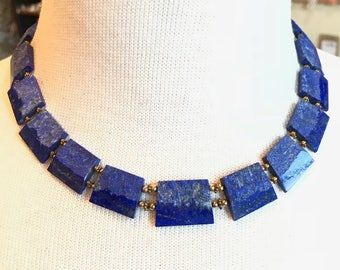 Lapis Lazuli Collar / Lapis Lazuli Necklace / Lapis Gold Necklace / Blue Gemstone Necklace
