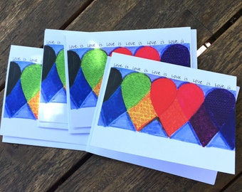 LOVE IS LOVE Hearts Pack of Four Greeting Cards with Envelopes