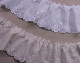 "Lovely  Gathered Ruffled Cotton Eyelet Lace Trim 6cm(2.4"") White Beige Sewing Craft  Wide 1Yd"