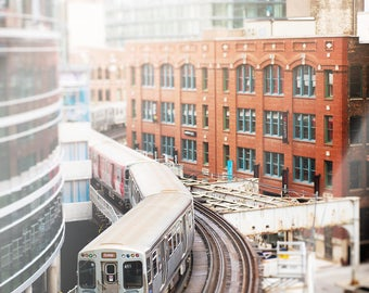 Chicago Photography, CTA Loop Train, Photograph of Elevated Train - Wall Art Print, Prints for Walls, Urban Home Decor, Orange, Grey, White