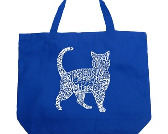 Large Tote Bag - Cat Created out of cat themed words