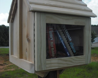 Library book exchange box, fully assembled, Cedar neighborhood library, weather resistant, BEST VALUE & QUALITY, must be painted or stained
