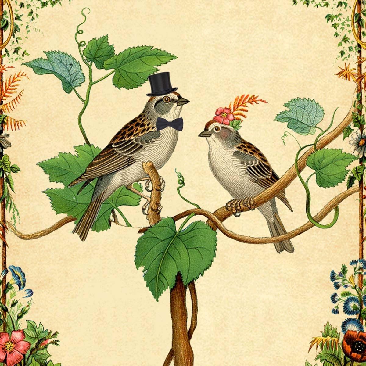 Delilah Vintage Victorian Love Birds And Botanical Flowers