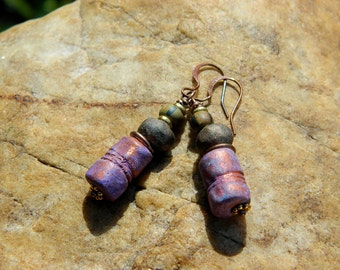 Boho Stoneware Clay Bead Earrings